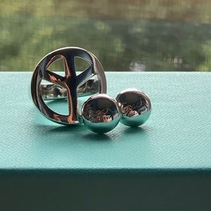 Peace silver Coach ring and Coach earrings /studs